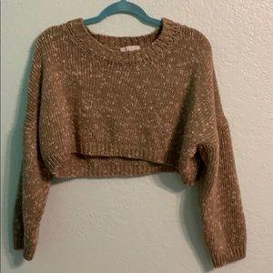 Tops - Trendy Light Brown Sweater Croptop